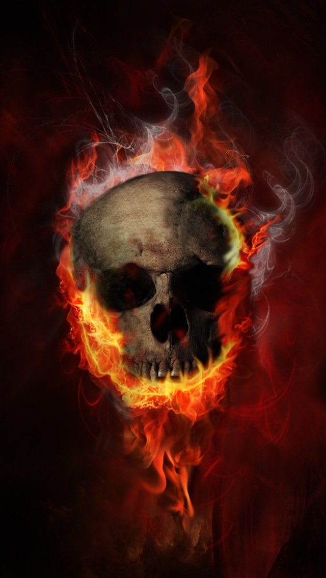 Burning Skull Wallpaper   iPhone Wallpapers 640x1136