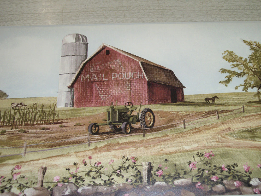 York Country Mail Pouch Barn Tractors Cows Americana Flag Wallpaper 1000x750
