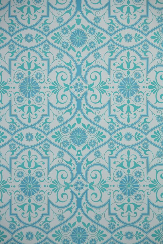 1970s Retro Wallpaper   Vintage Aqua Blue and White Geometric 16 per 570x855