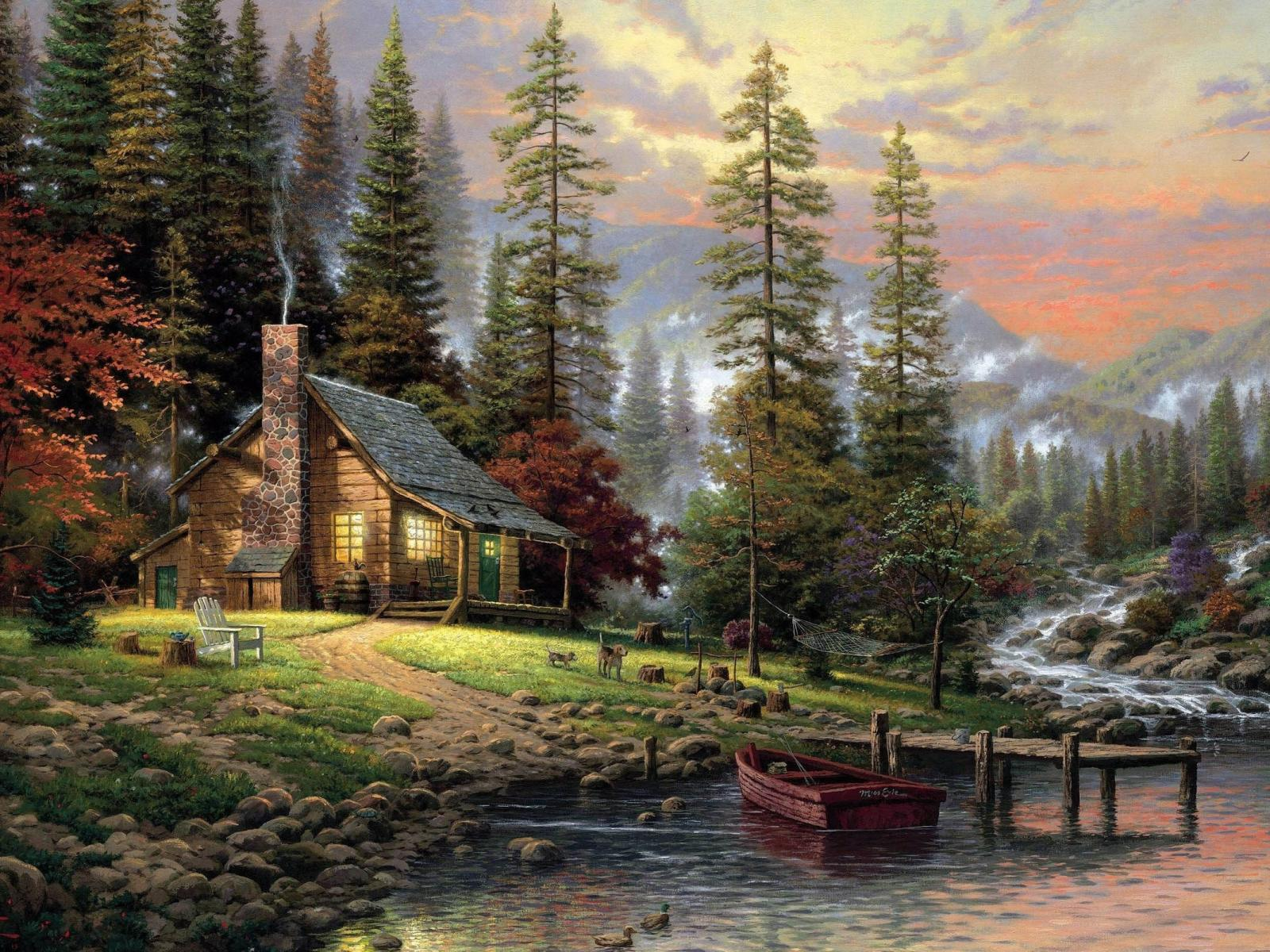 Painting Digital art desktop wallpapers 800x600 Chalet Painting 1600x1200