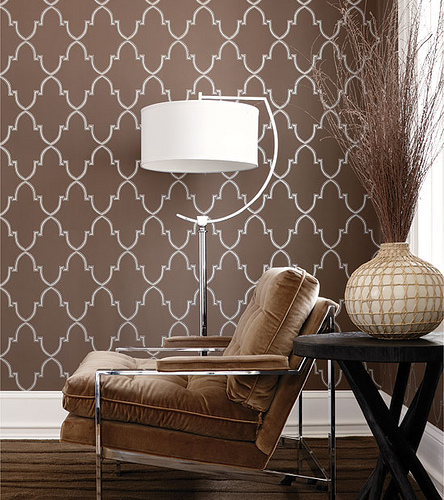 Modern wallpaper Metallic brown geometric print brown velvet chair 444x500
