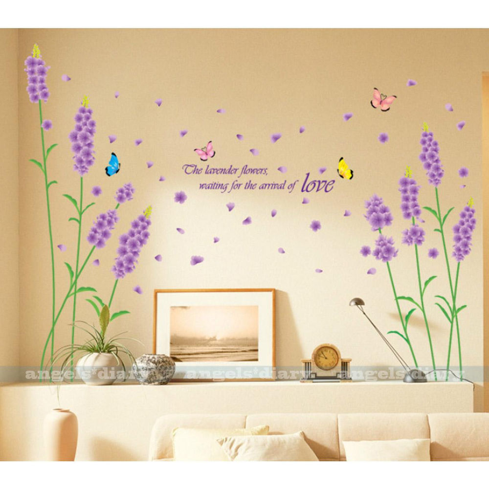 Purple Lavender Wall Sticker Decal Home Room Decor Removable Wallpaper 1000x1000