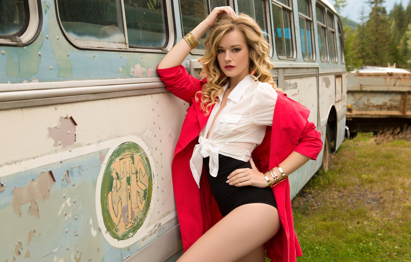 Wallpaper red playboy blonde blouse bus cloak model body 1332x850