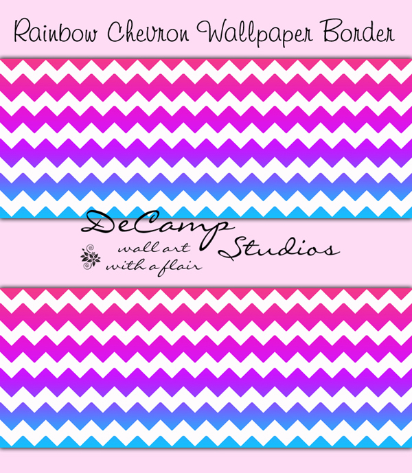 Chevron Wallpaper Border Wall Decals Teen Girls Room [381]   12 600x689