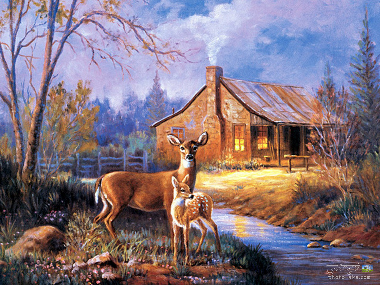 Wallpaper deer and cabin wallpapersafari - Home interior deer pictures for sale ...