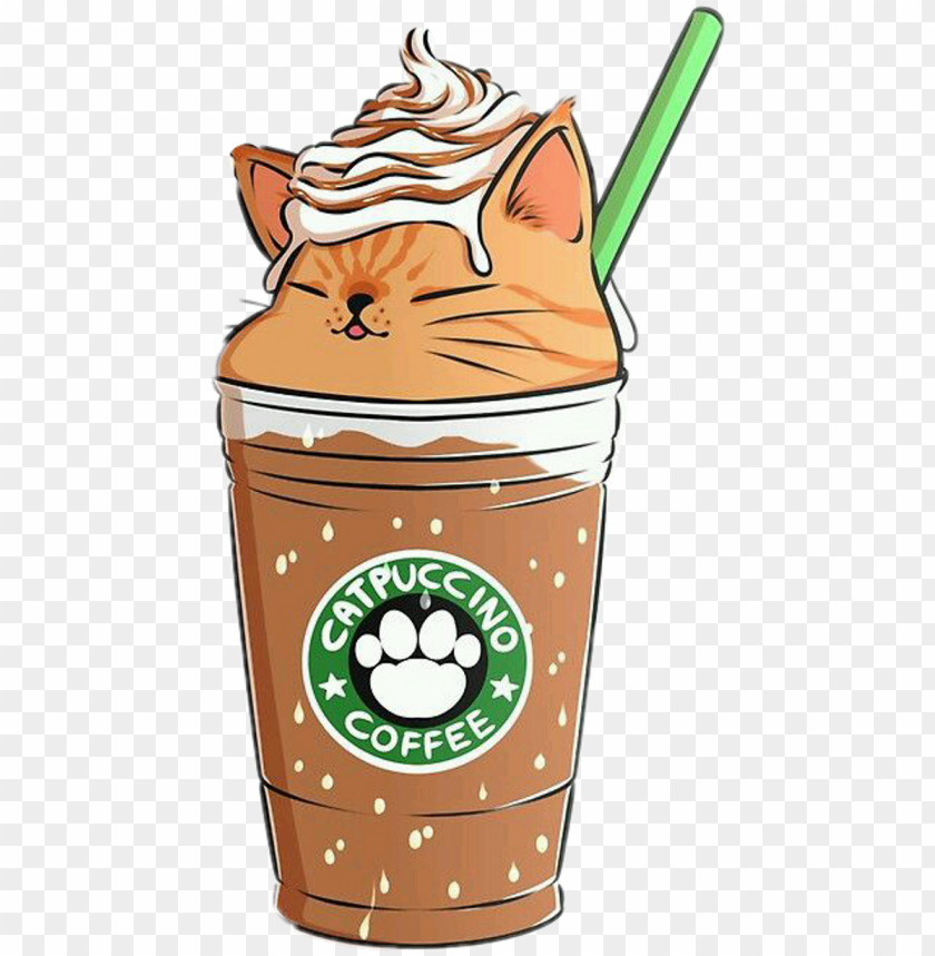 coffee capuccino cat emoji remixit   cute food kawaii 840x859