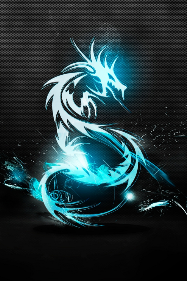Dragon neon wallpaper iPhone4 download 640x960