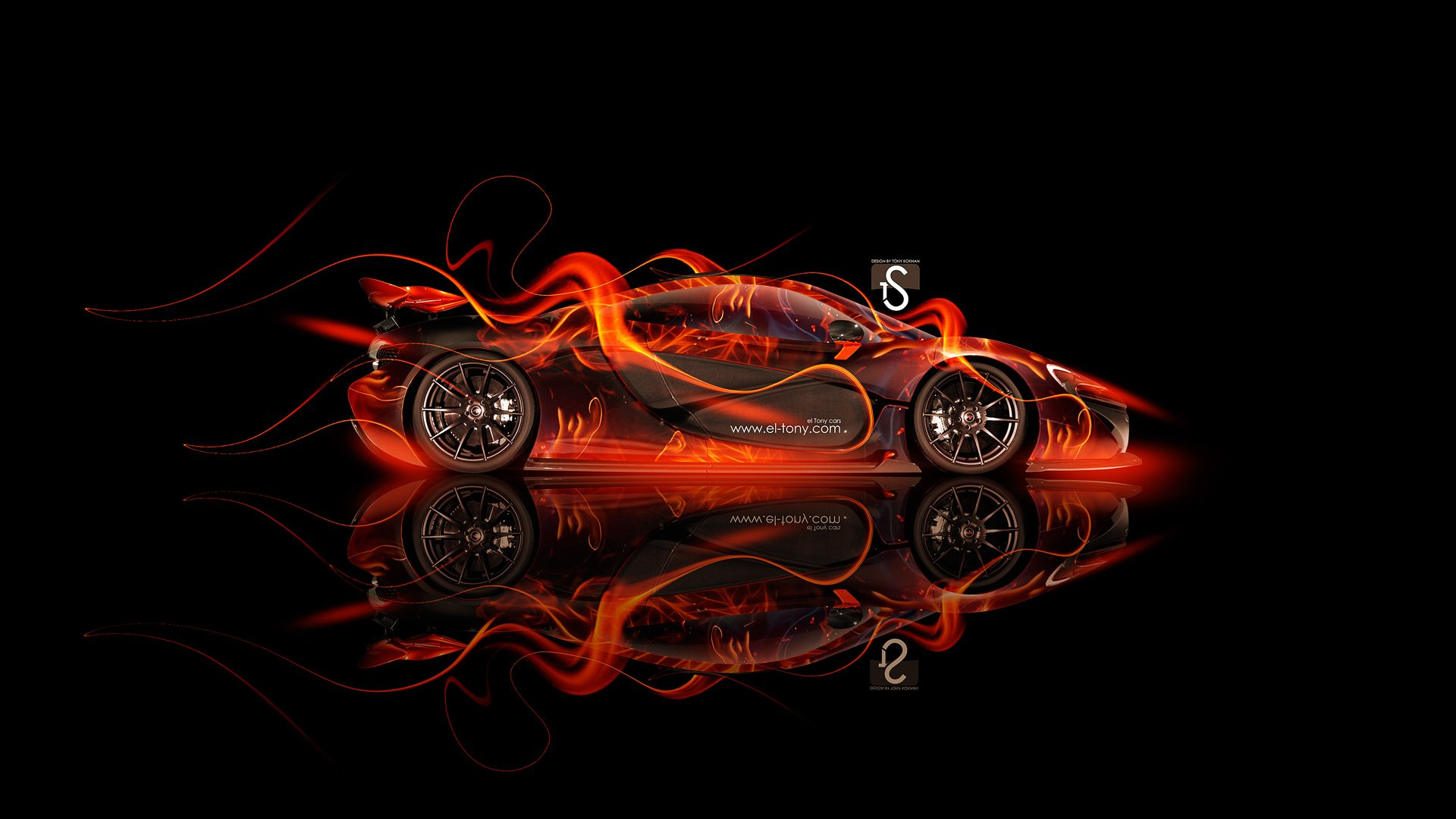 McLaren P1 Side Fire Abstract Car 2013 HD Wallpapers design by Tony 1920x1080