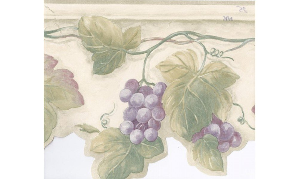 Home Green White Stone Purple Grapes Wallpaper Border 1000x600