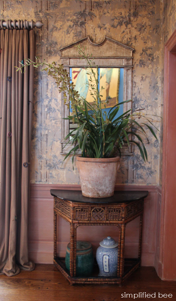 chinoiserie chic foyer with bamboo wallpaper   Simplified Bee 570x974