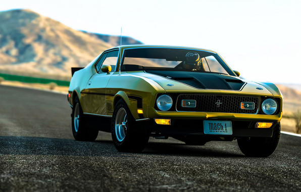 Ford mustang muscle car muscle car front rendering background 596x380