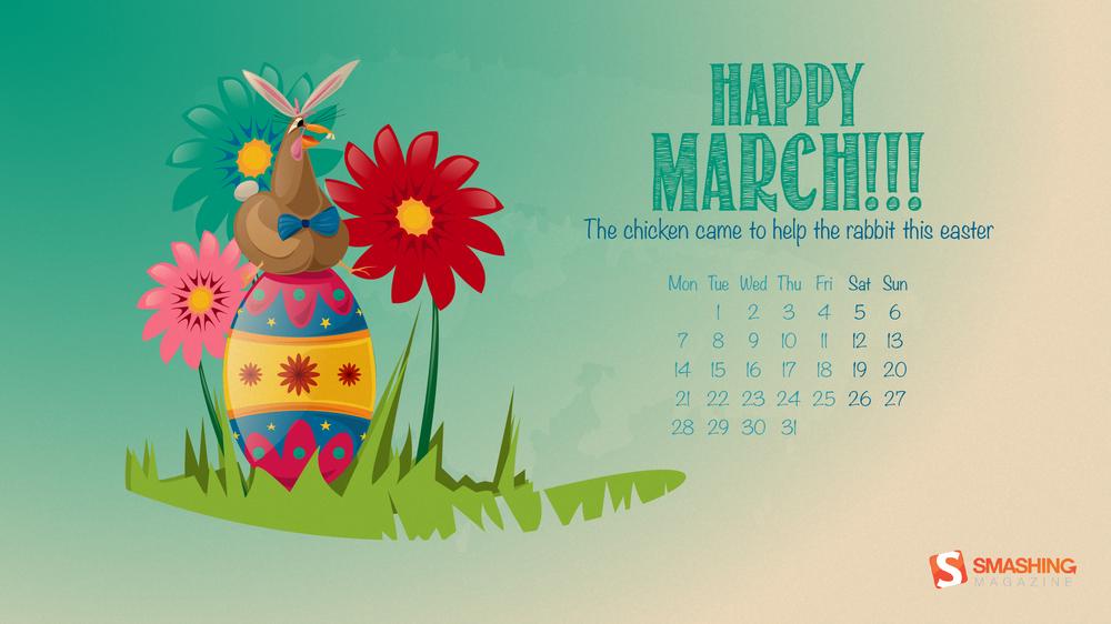 Magazine Desktop Wallpaper Calendar March 2016 Windows 7810 Theme 1000x562