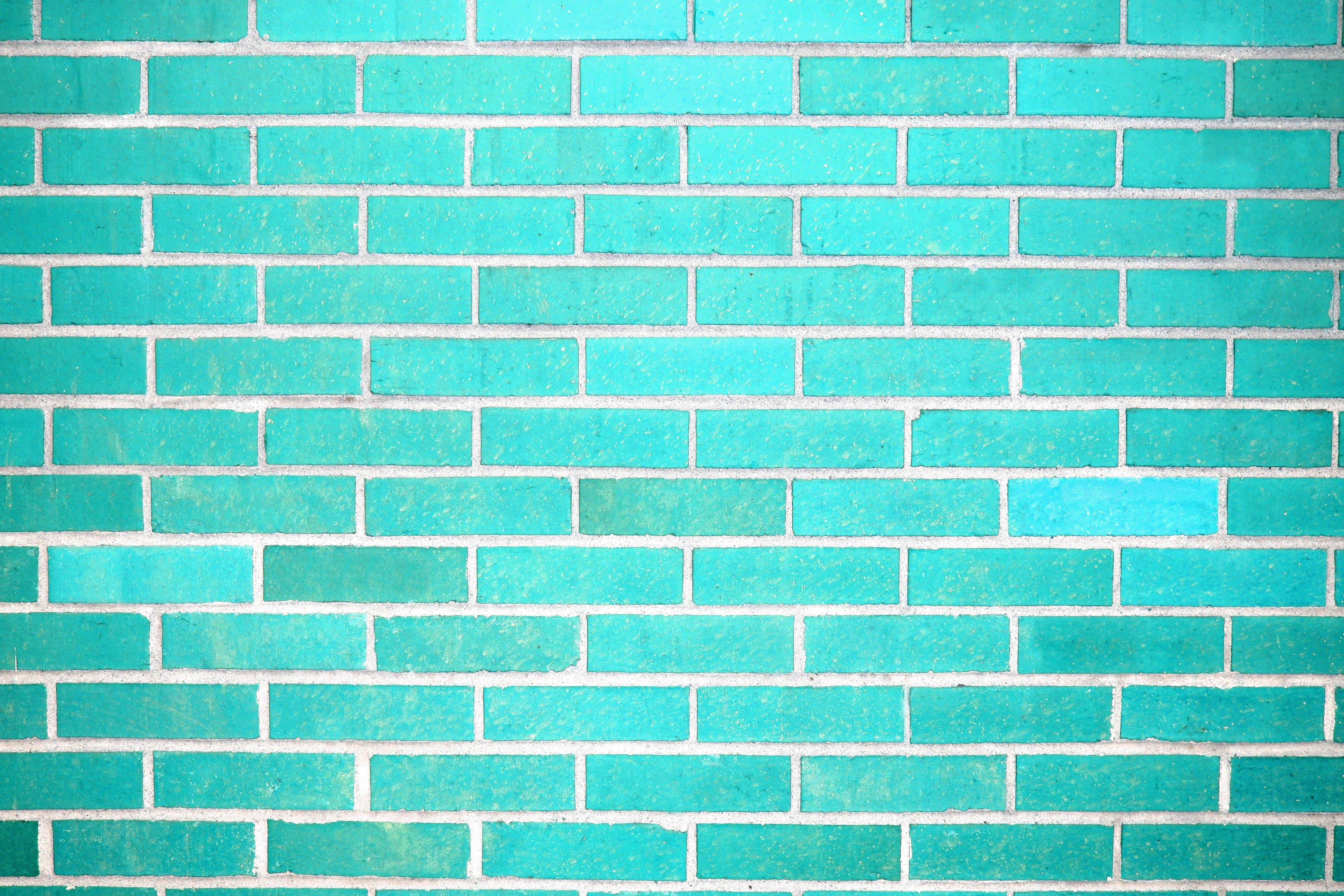 Teal Brick Wall Texture Picture Photograph Photos Public 3888x2592