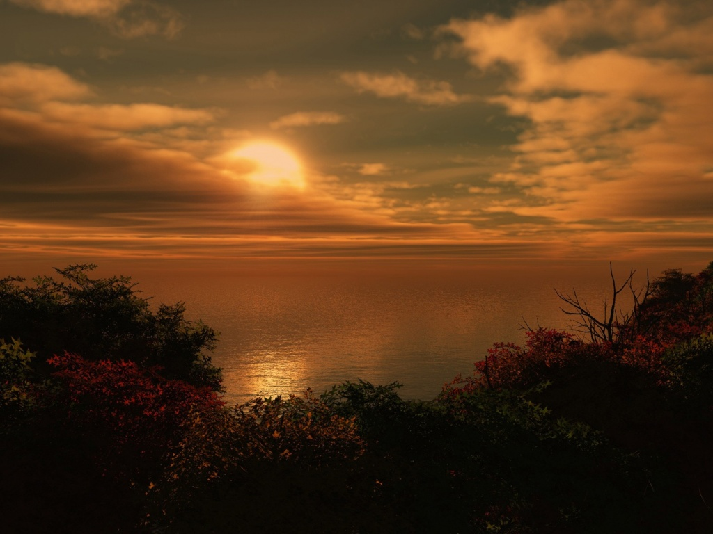 1024x768 Ocean Sunset desktop PC and Mac wallpaper 1024x768