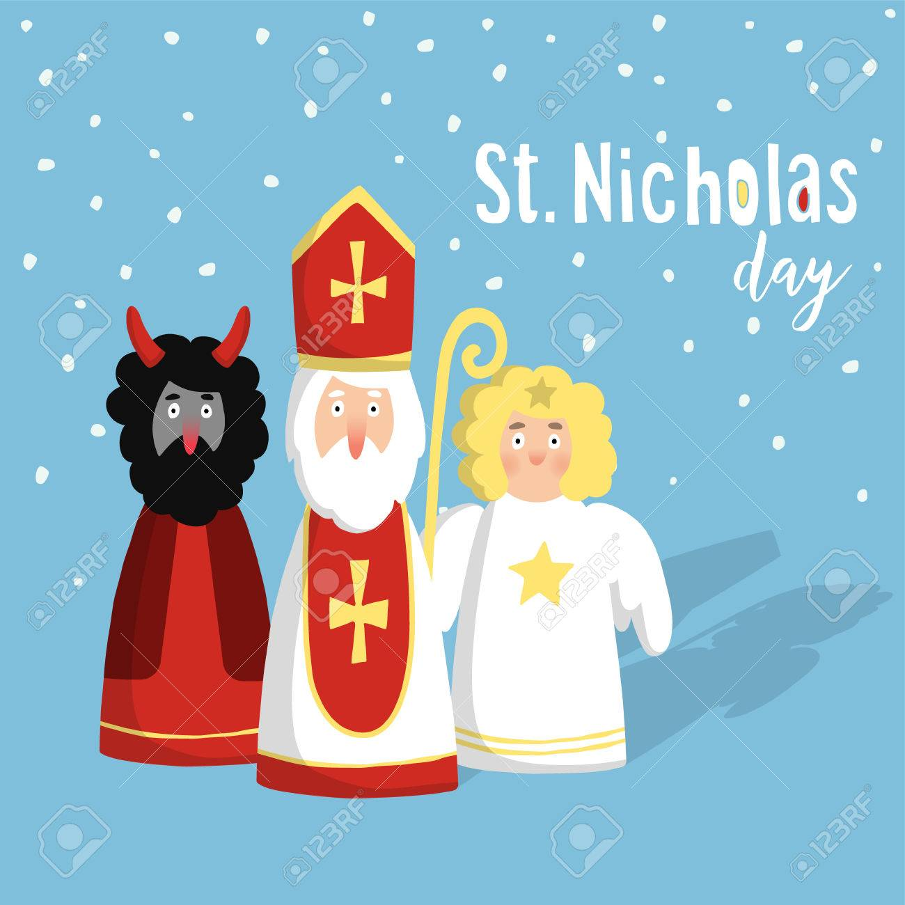 Cute St Nicholas With Devil And Angel Christmas Invitation 1300x1300