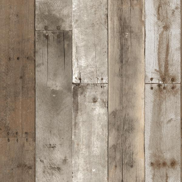 Repurposed Wood Weathered Textured Self Adhesive Wallpaper by Tempaper 600x600