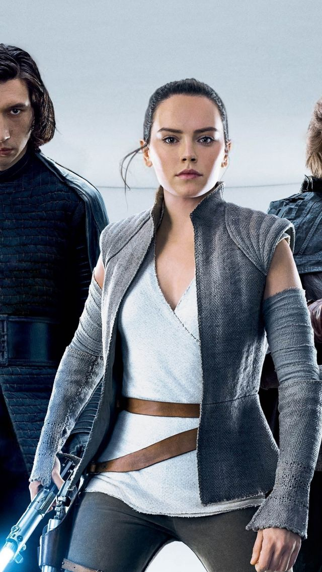 Wallpaper Star Wars The Last Jedi Adam Driver Daisy Ridley 640x1138
