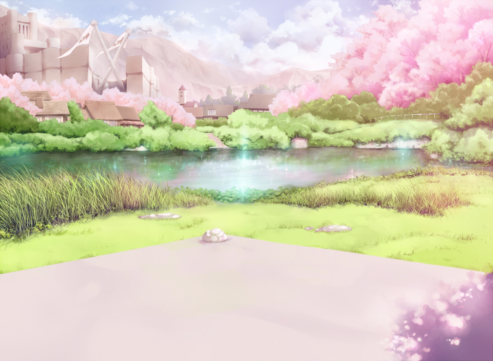 Anime Cherry Blossoms Landscape Wallpapers HD