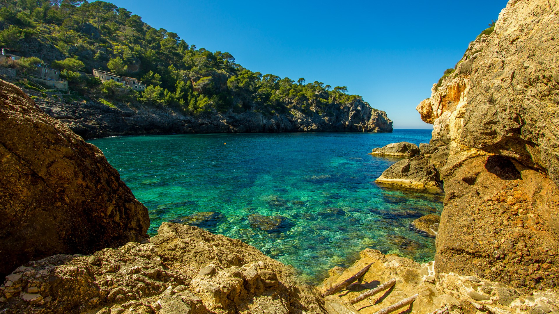 Cala Deia tropic empty beach Palma Mallorca Balearic Islands 1920x1080
