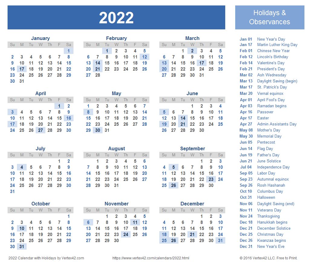2022 Calendar Templates and Images 1032x868