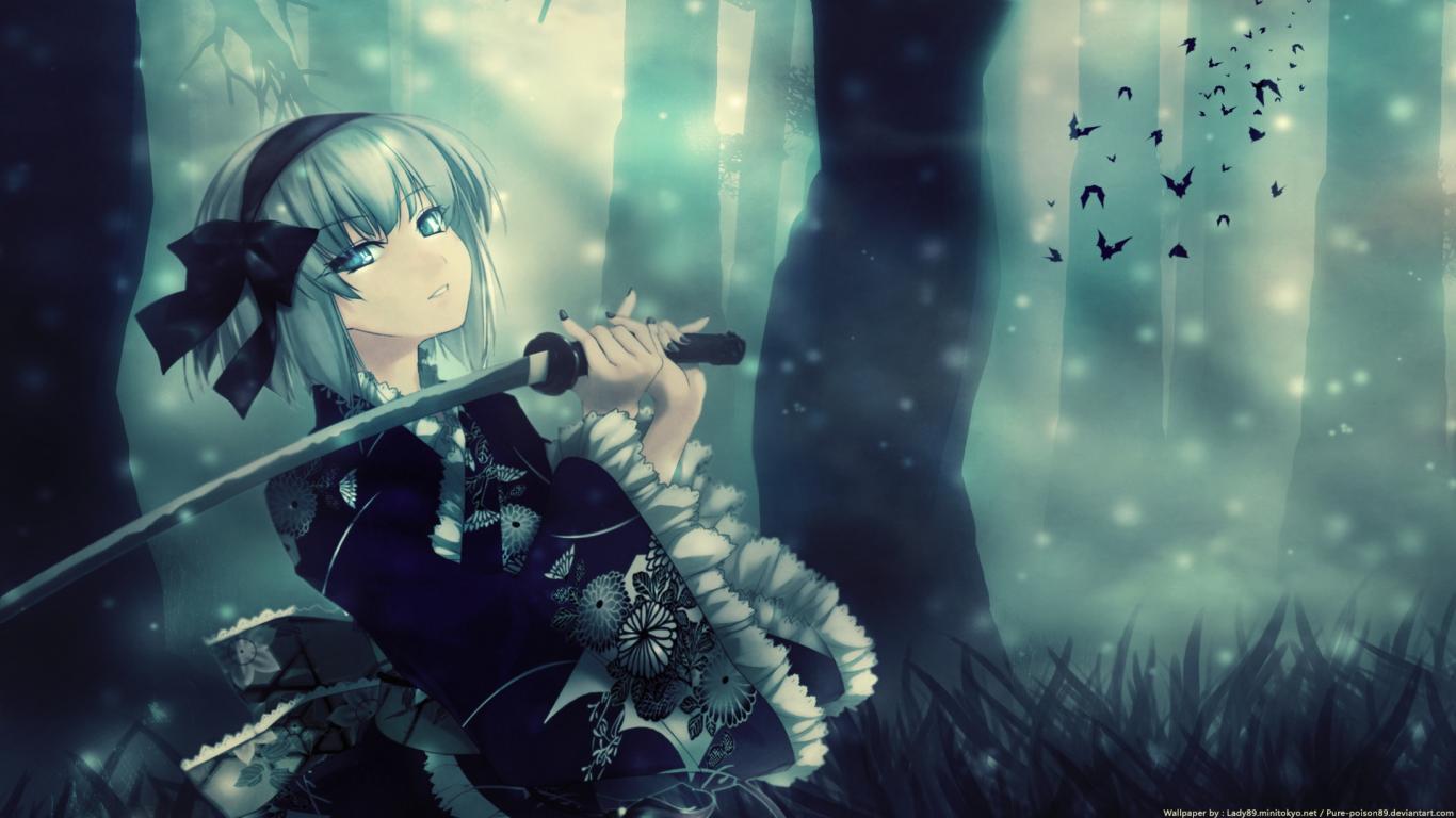 Free Download Cool Anime Girl Samurai Wallpaper 1366x768