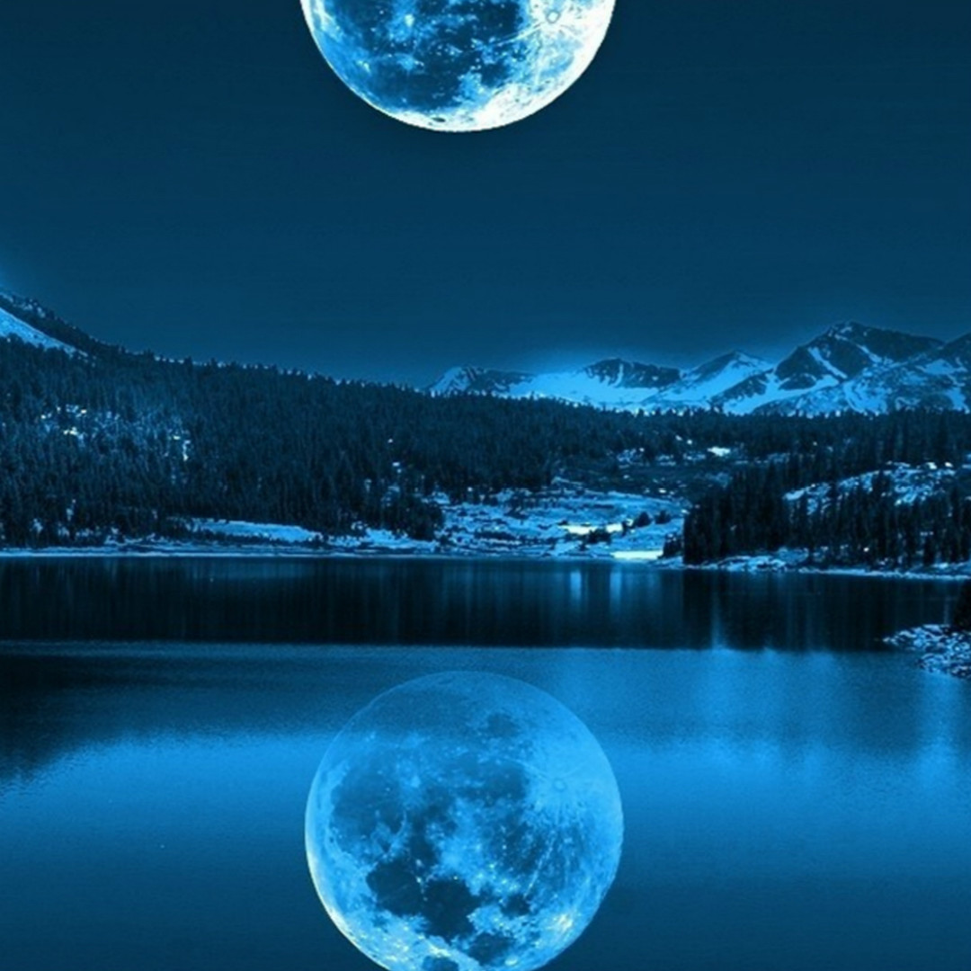 Night Calm Lake Mountains Super Moon Shadow HD Wallpaper 7603 1080x1080