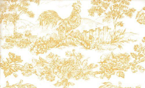 Wallpaper French Country Yellow Rooster Toile on White by The 500x304