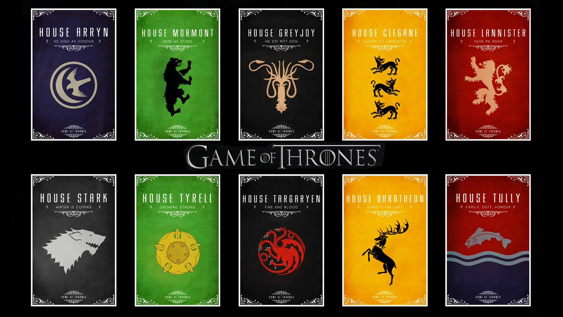 House Emblems Game Of Thrones