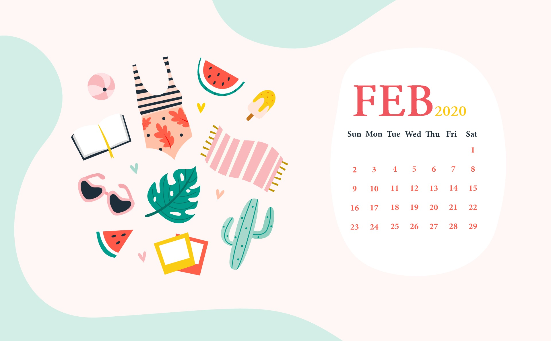 February 2020 Desktop Wallpaper Calendar Calendar 2019 1920x1190