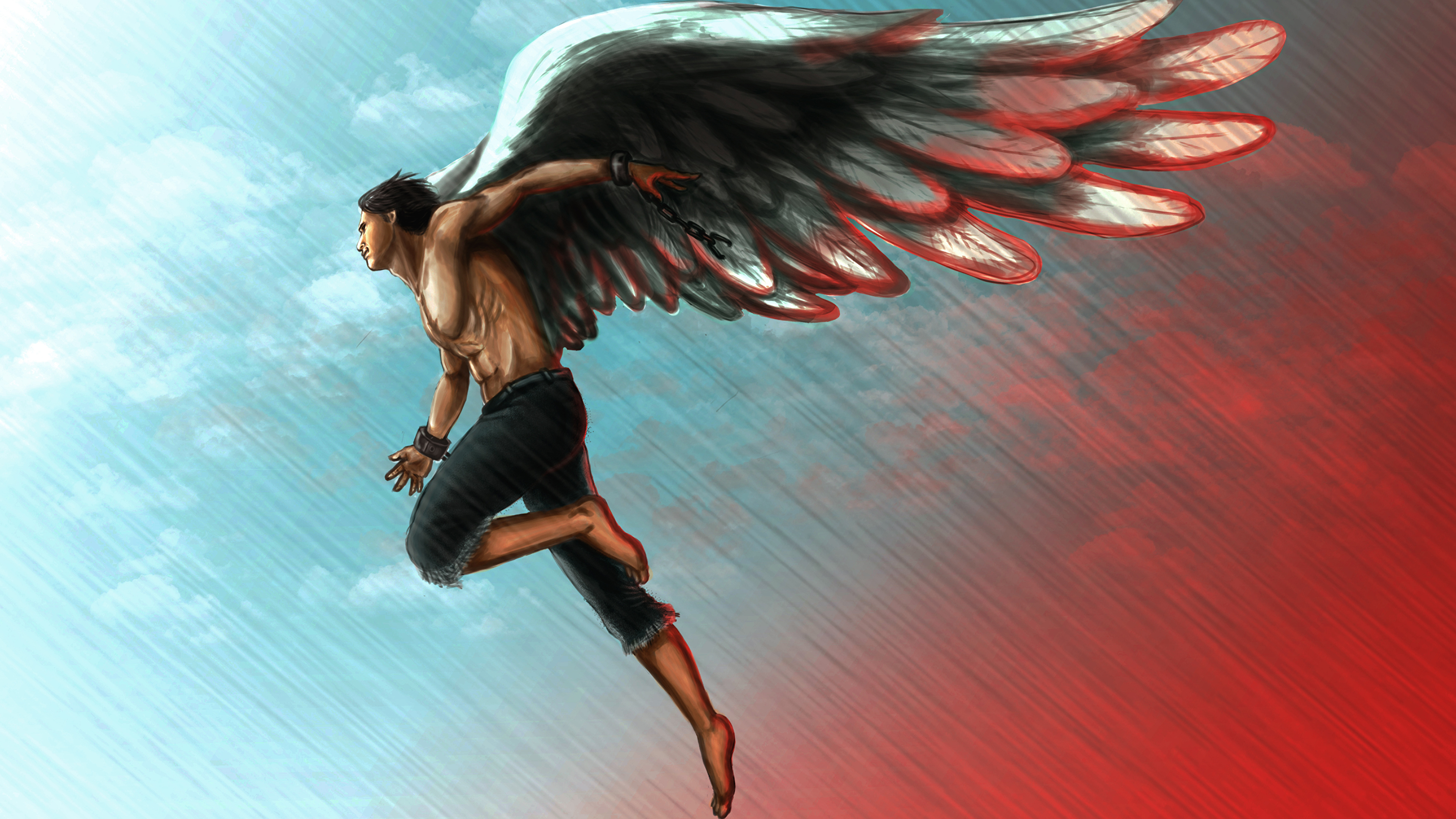 Images Men Wings Fantasy angel Painting Art 3840x2160 3840x2160