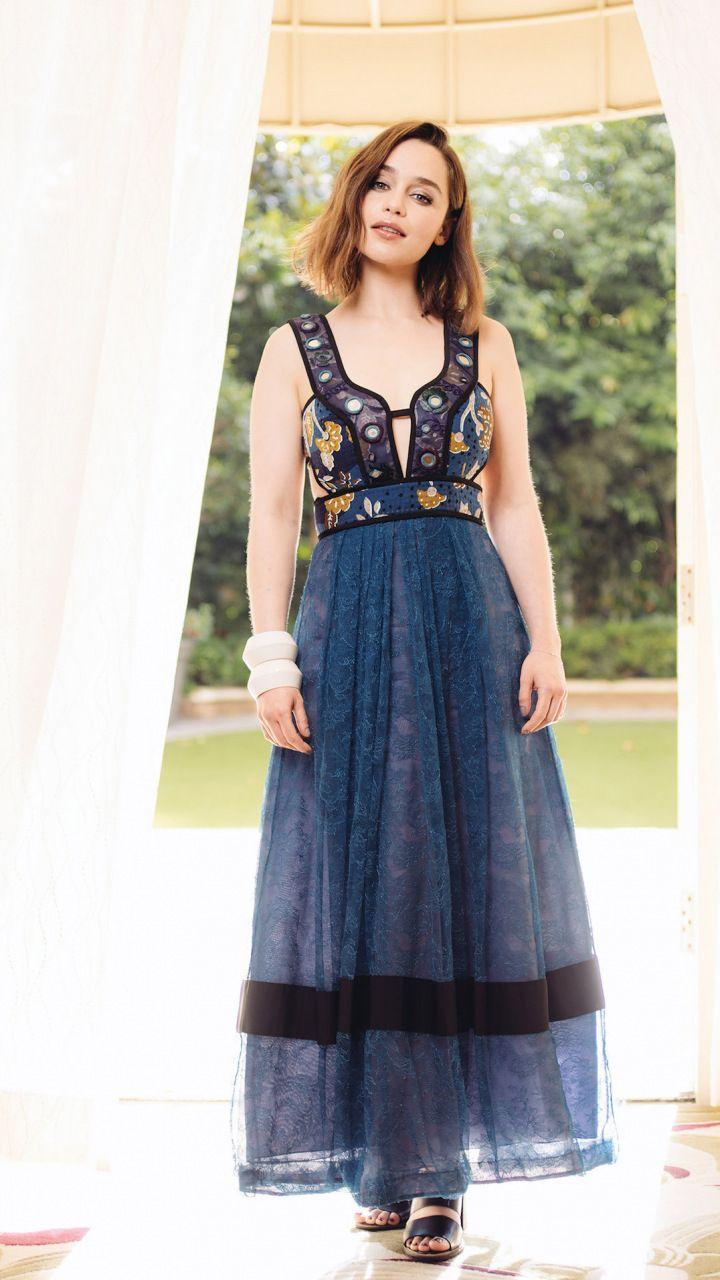Download 720x1280 wallpaper Emilia Clarke blue dress beautiful 720x1280