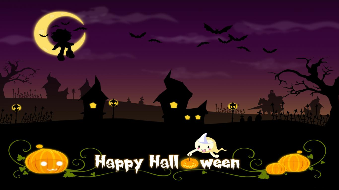 Cute Happy Halloween Disney Computer Wallpaper 1366x768