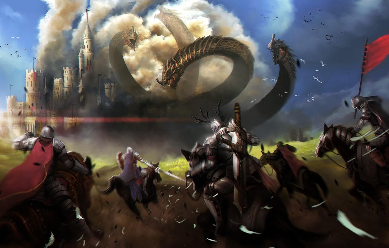 Wallpaper weapons castle horses armor art head battle 1332x850