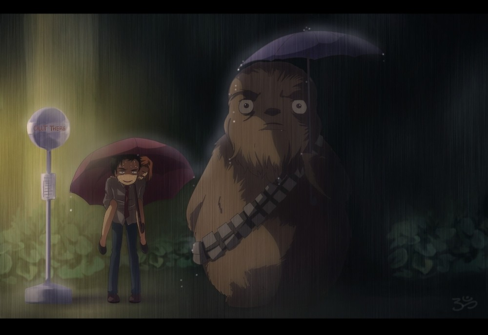 Xfiles   Ghibli Totoro Bus Stop Chewie version wBackground by 1000x687