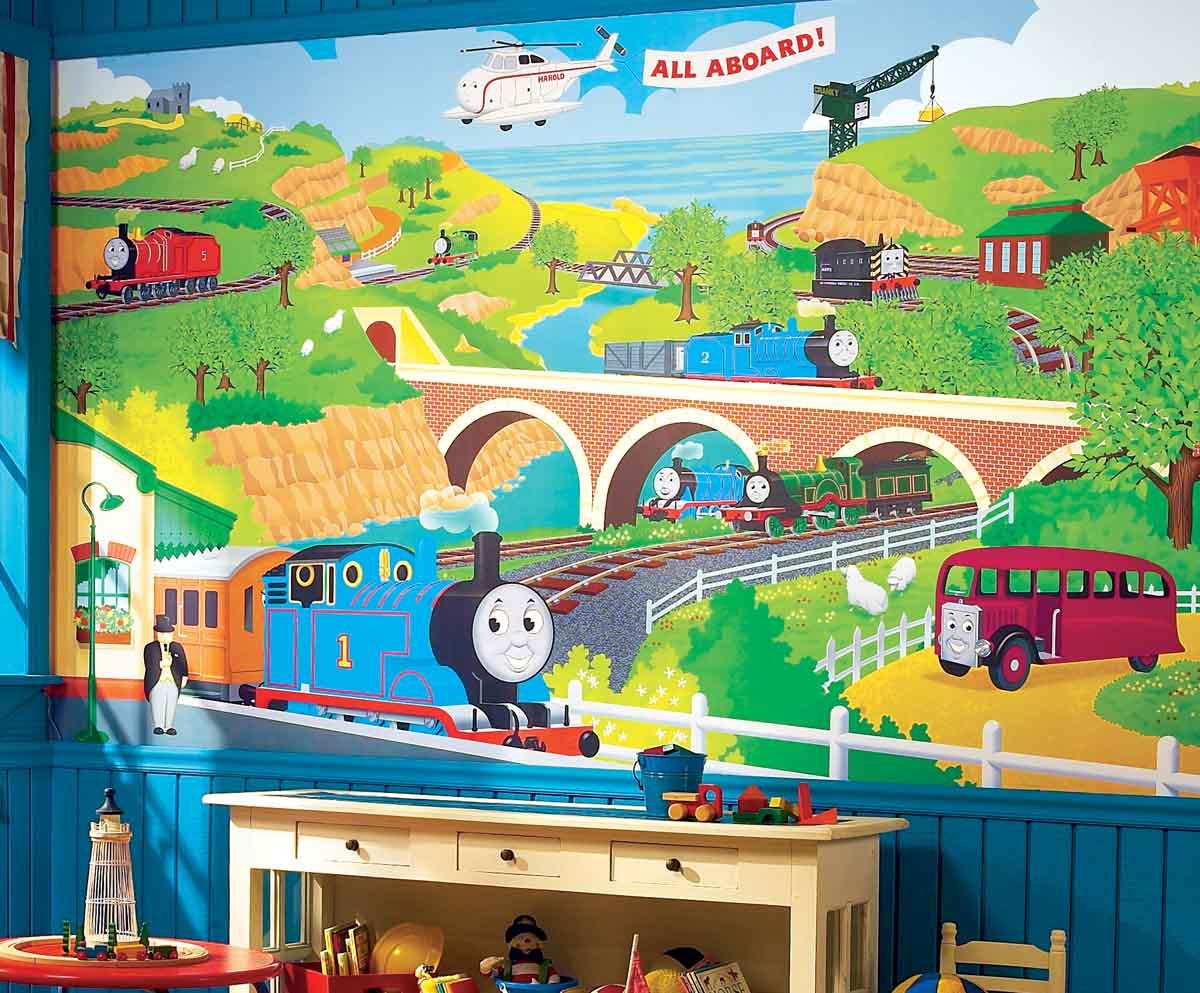 Thomas the Train Wallpaper Mural Chair Rail 6x10 YH1418M Roomjpg 1200x993