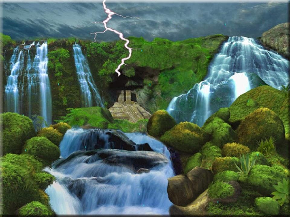 Download Beautiful 3D Nature WaterFall HD Wallpaper 960x720