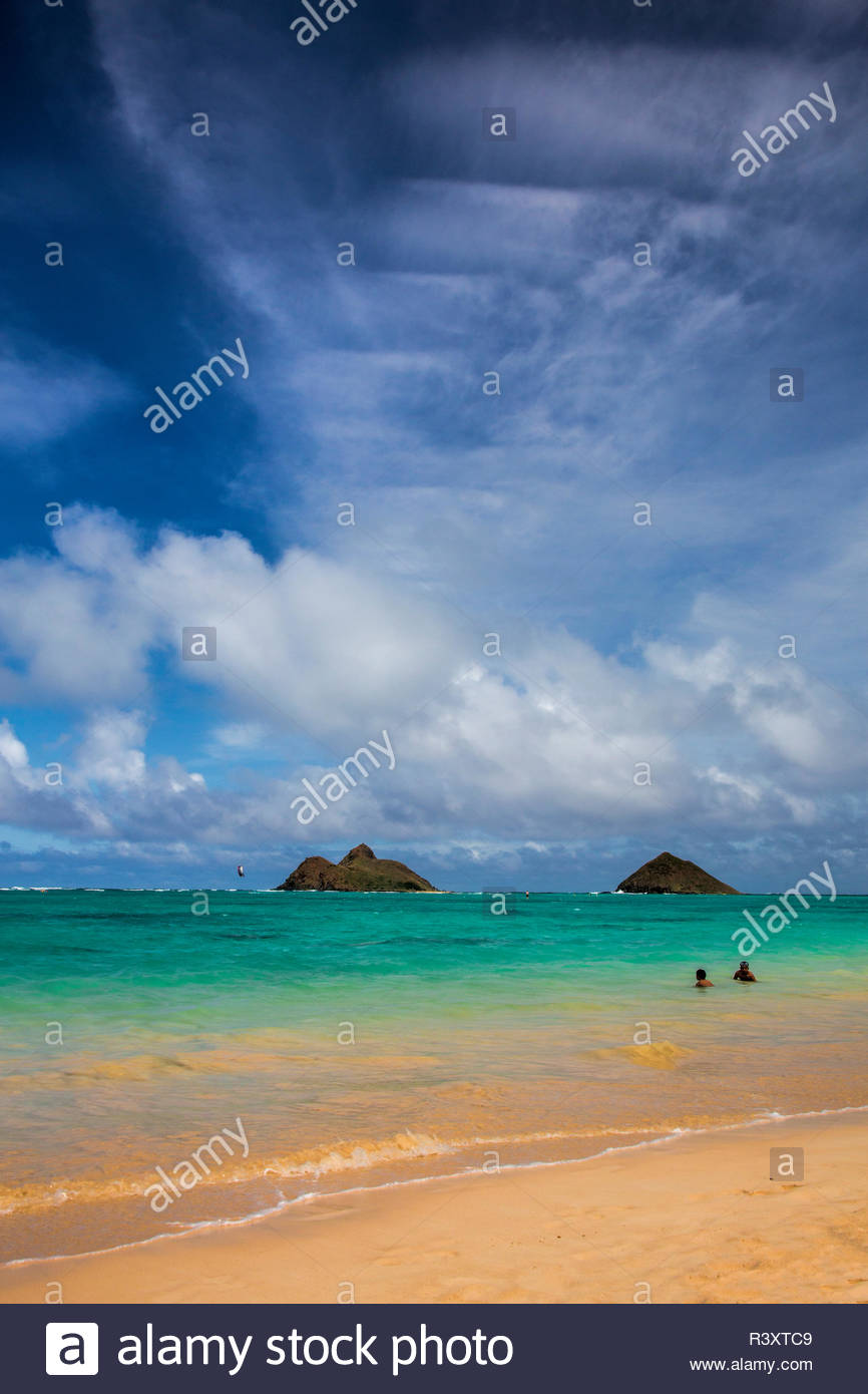 USA Hawaii Oahu Lanikai Beach and Islands in Background Stock 866x1390