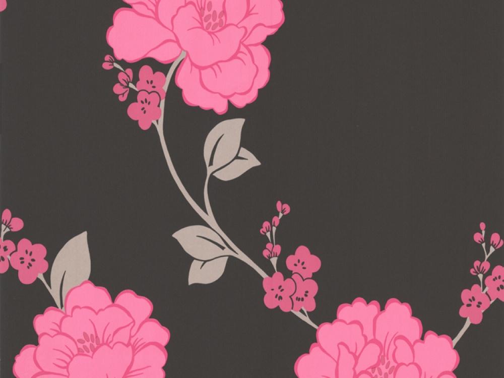 Black and Pink Flower Wallpaper - WallpaperSafari