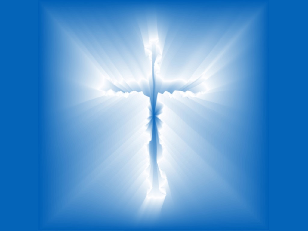 White Cross with blue color background religious wallpaper 1024x768