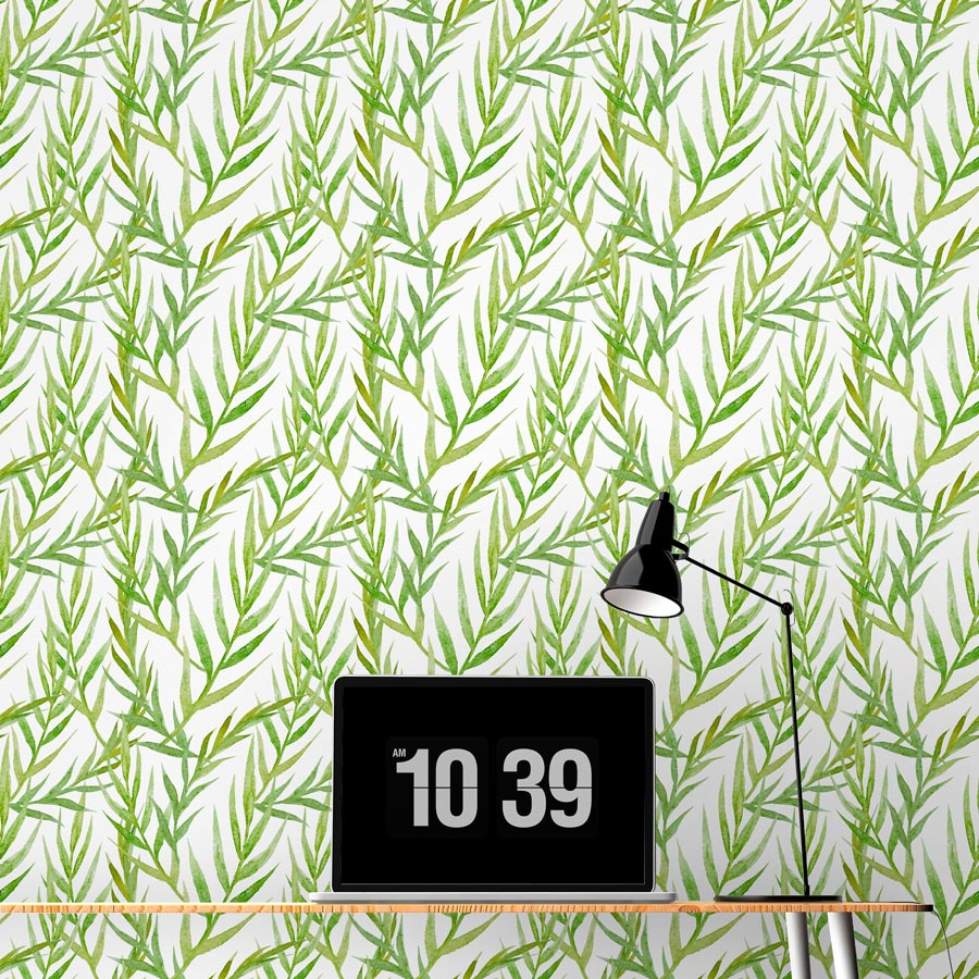 Watercolor Green Leaves Removable Wallpaper Tile 900x900