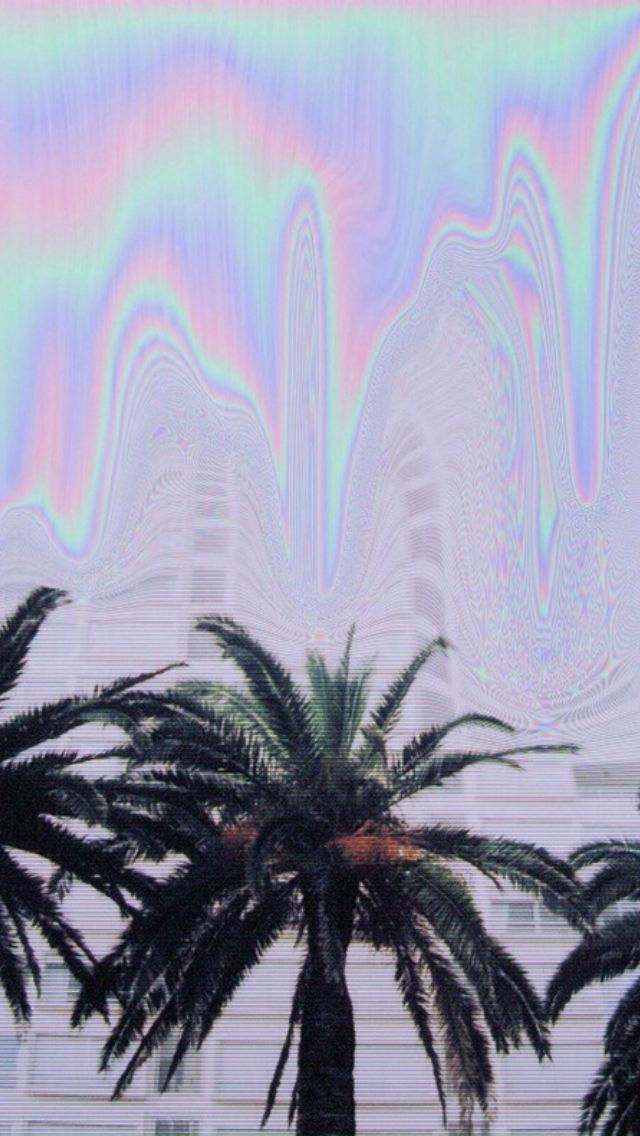 Holographic palm trees iphone wallpaper | Iphone wallpapers | Pintere ...