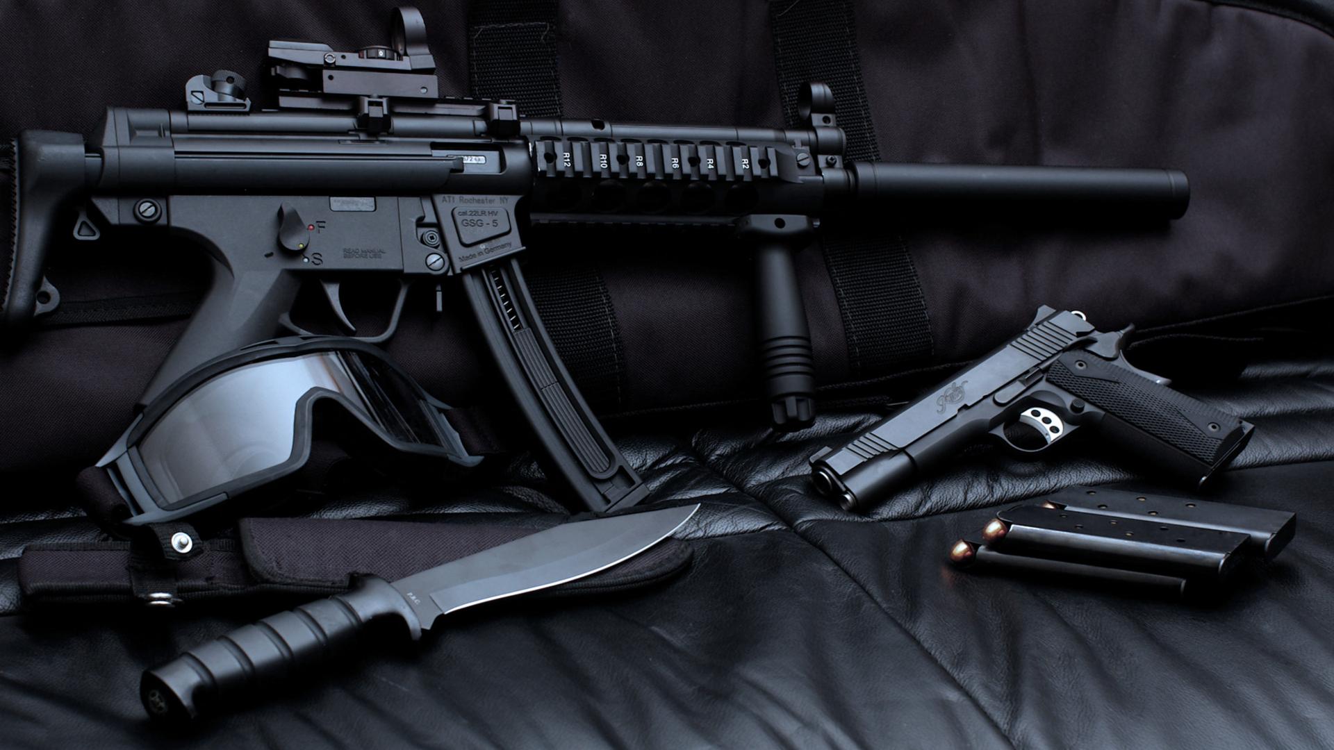 Sniper Gun Pistol Ammo Collection Wallpaper   StylishHDWallpapers 1920x1080