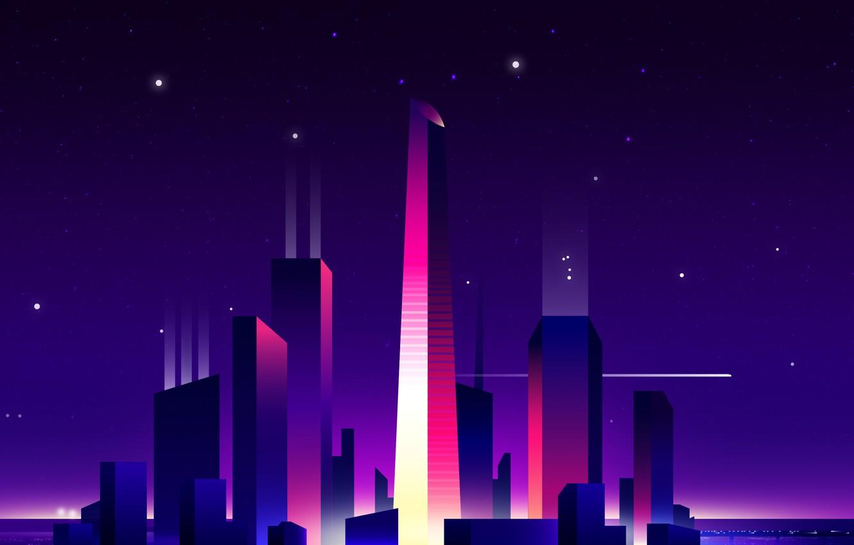 Wallpaper light night city the city skyscrapers light purple 1332x850