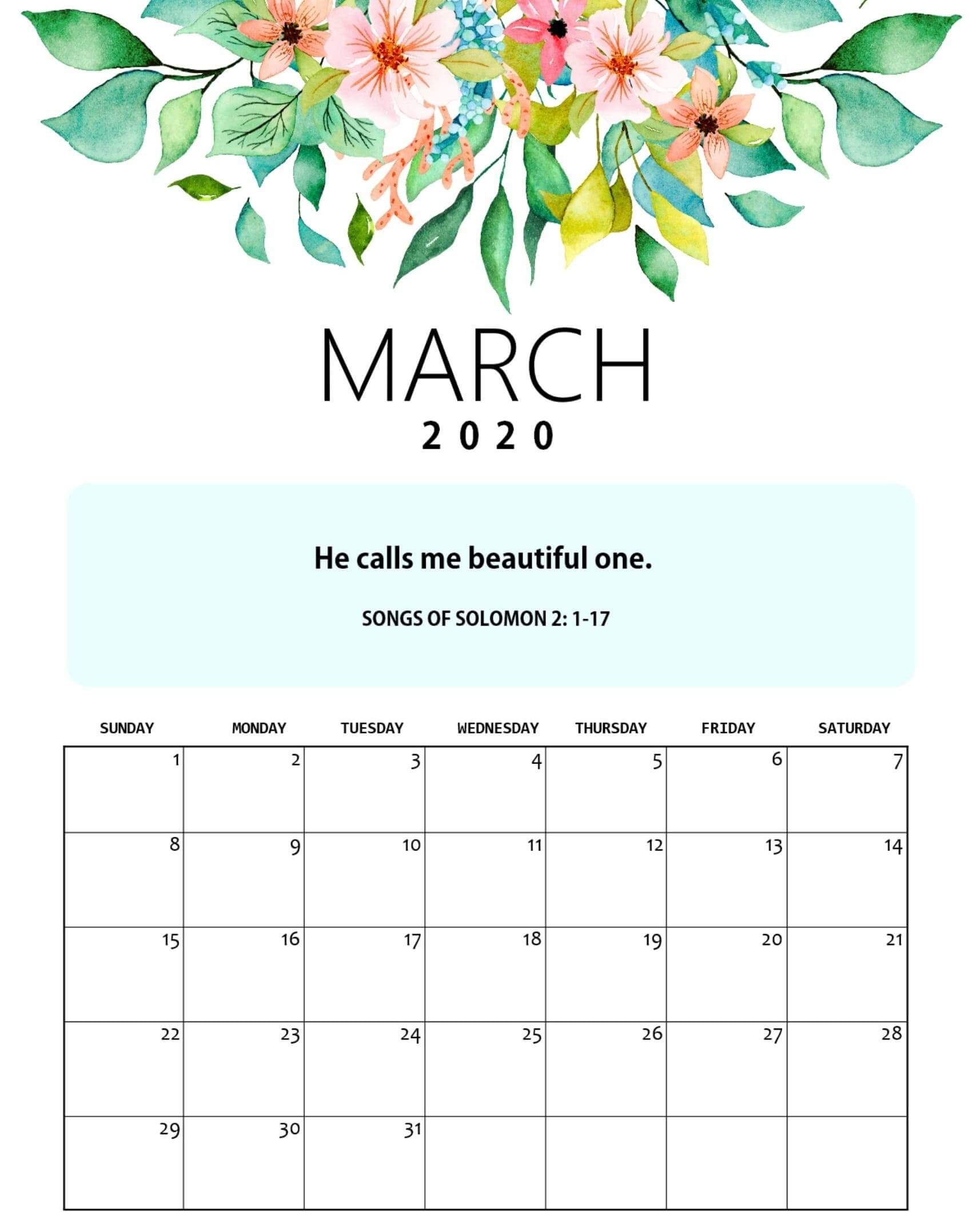 Cute March 2020 Calendar Archives   2019 Calendars for Students 1700x2155