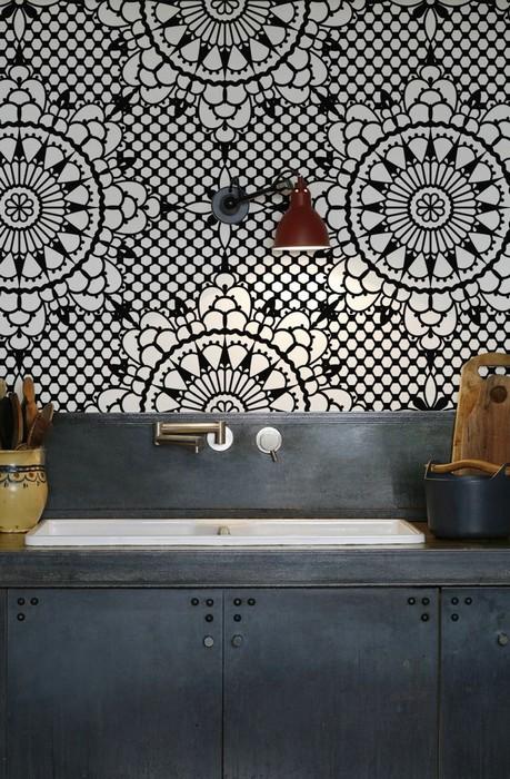 Kitchenwalls backsplash waterproof wallpaper flower cuisine kitchen 459x700