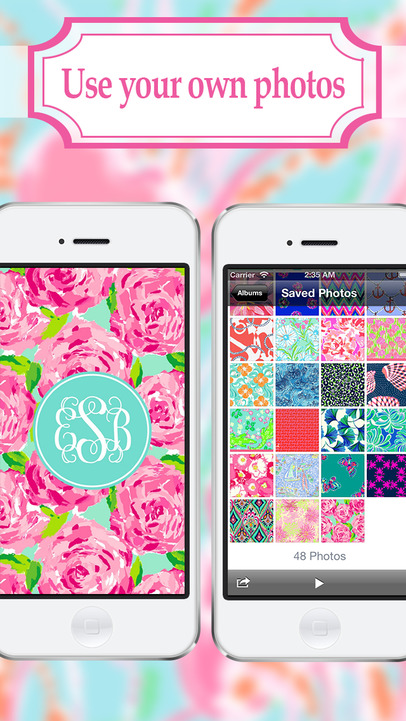 Monogram   Wallpaper Backgrounds Maker HD DIY with Glitter Themes 406x721