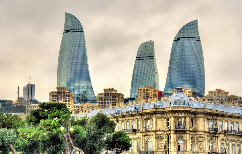 Wallpaper home Azerbaijan Baku Flame towers images for desktop 1332x850