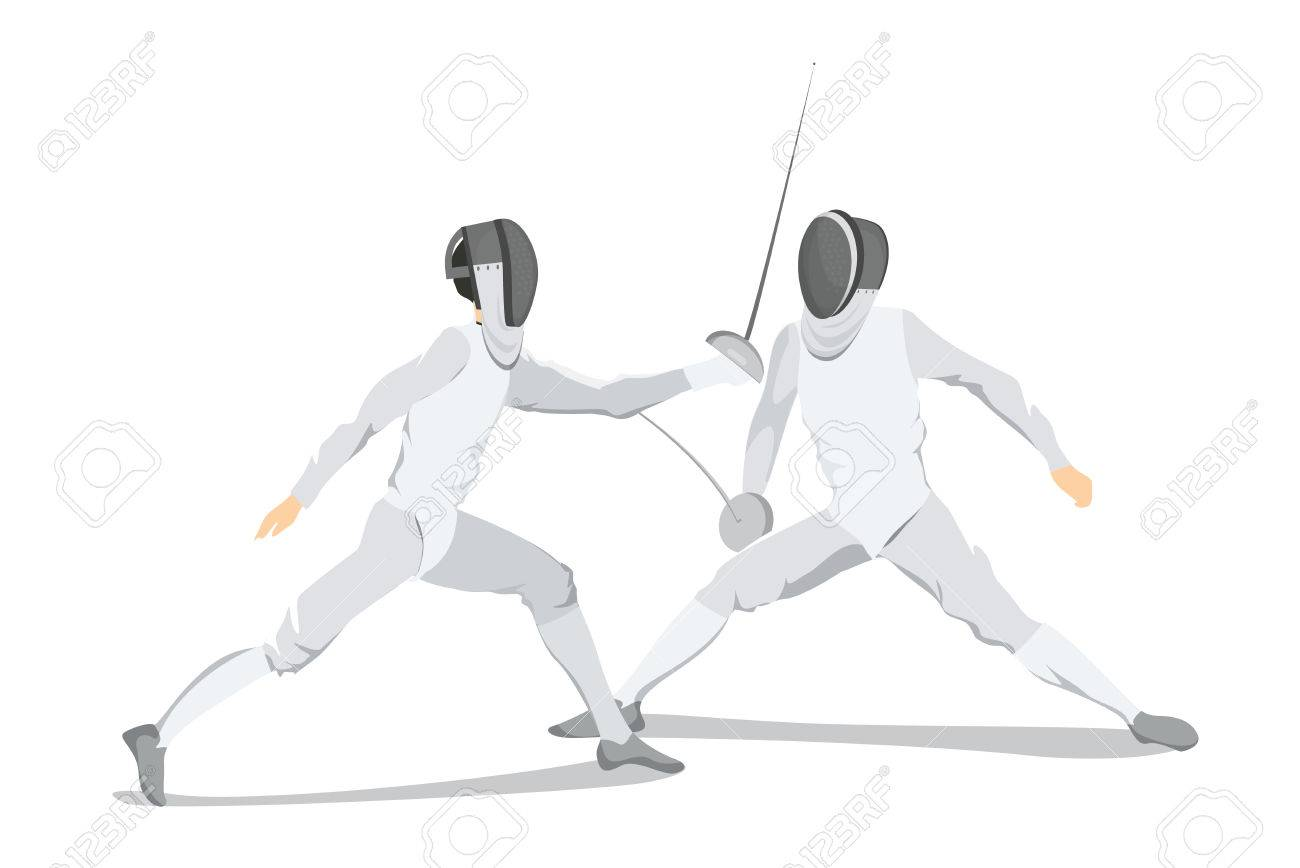 Isolated Fencing Athlete On White Background Athlete In White 1300x868
