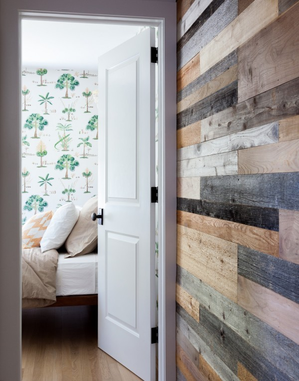 Green Tree Patterned Wallpaper and Reclaimed Wood Planked Wall 600x764