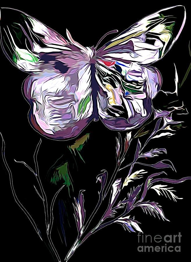 Butterfly On Black Background Mixed Media by Debra Lynch 656x900